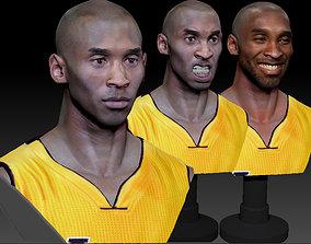 Kobe Bryant 3D Bust 3 Versions Textured
