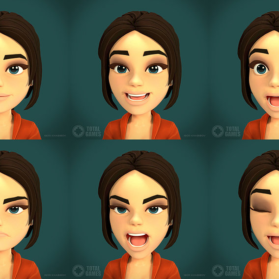 Game character (facial animation rig test).