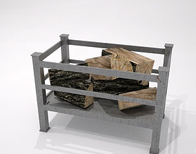 3D asset fire grate with logs