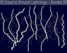 Realistic Lightnings Bundle 05 - 10 pack CG 3D