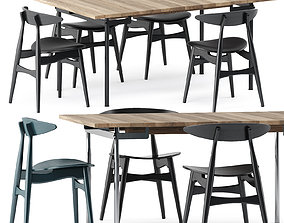 CH322 DINING TABLE and CH33P CH33T CHAIR by Carl Hansen 3D