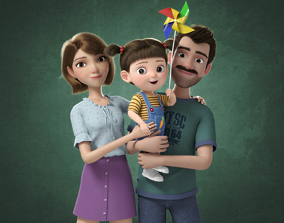 3D model PBR Cartoon Family Rigged V7