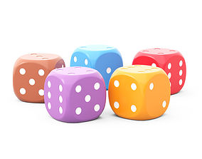 3D model 5 HD dice for board game of different colors