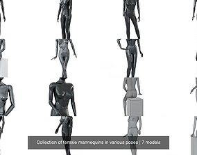 3D Collection of female mannequins in various poses