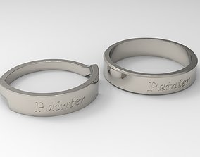 Painter Couple Ring Platinum 3D print model