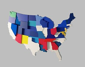 low-poly US 3D Map United States of America Continental 1
