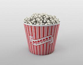 Popcorn bowl 3D asset low-poly