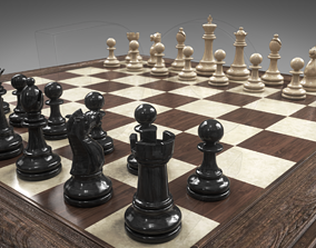 Chessboard with pieces 3D model
