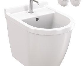 Duravit Starck 3 wall-mounted bidet and toilet 3D model