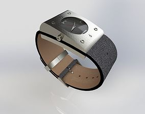 Steel watch with leather band 3D model