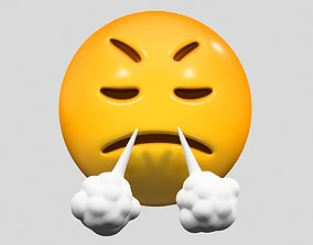 Emoji Face with Steam From Nose valentin 3D model