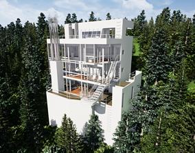 3D model Richard Meier Douglas house an architectural