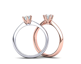 6 prong Solitaire Engagement ring printable 3dmodel