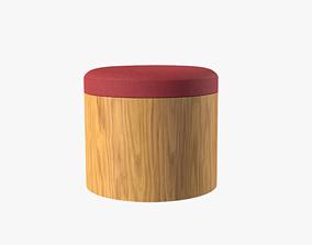 3D asset Ana Ottoman garnet red