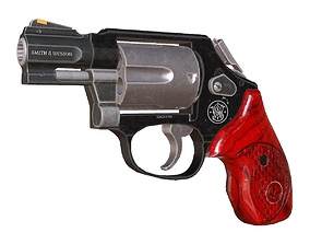 Smith and Wesson model 360 old pistol 3D asset