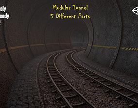 3D asset Modular Tunnel with Rail PBR