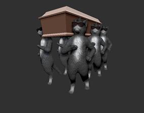 3D printable model coffin cat dance animal