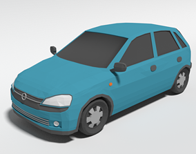 3D asset Low Poly Cartoon Opel Corsa C Car