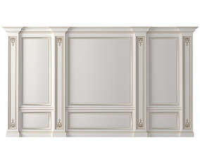 3D model Classic Wall paneling white color