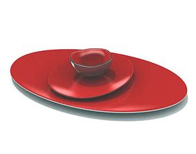3D model Three Piece Red Dish Serving Set