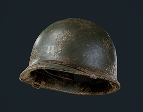 3D asset WW2 American Soldier Military Helmet Game Ready