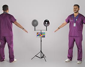 3D asset Male doctor in purple uniform ready for 1