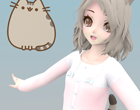 Pusheen cat Girl 3D model