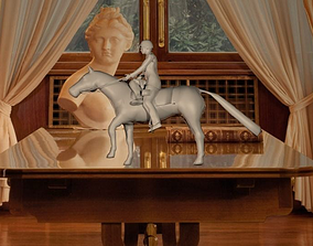 Horse with side seddle rider girl 3D print model