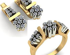 WOMAN SET RING AND EARRINGS 3D model rings