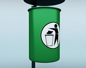 3D Street trash can low poly