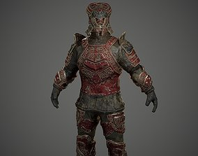 Low poly fantasy armored soldier character rigged 3D model