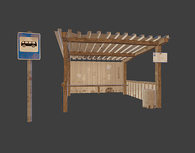 Old russian bus stop 3D model