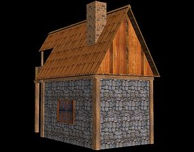 3D asset low-poly Medieval House for Game