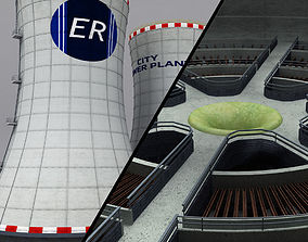 Cooling Tower Power Plant interior 3D