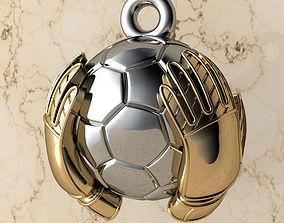 Pendant Soccer Ball with Gloves STL 3D printable model