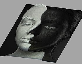 3D woman face-head relief