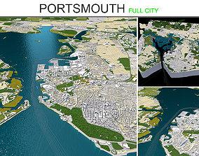 3D model Portsmouth in UK 20km