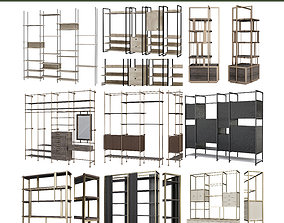 realtime Bookcases 3d model collection 10 pieces