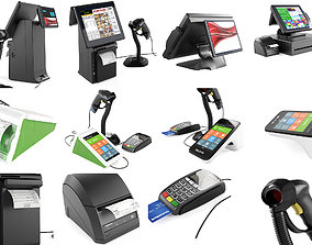 3D model Online POS terminals and cash register equipment