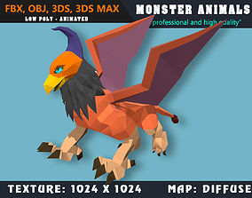3D asset Low Poly Griffin Monster 53 Animated - Game Ready