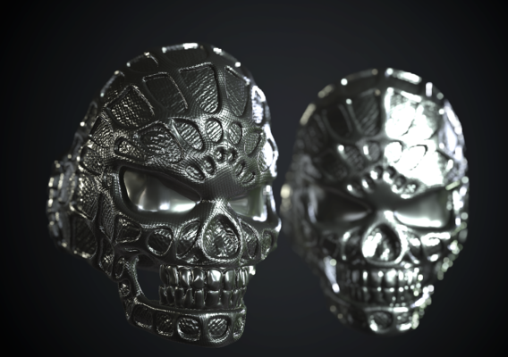 Stylized Skull Ring Spider Man type