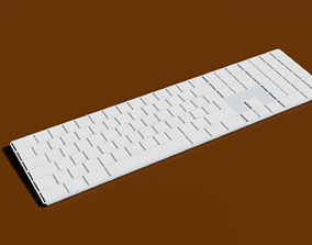 White keyboard low poly model for computer game-ready