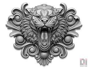 Tiger angry face relief plaque ornament 3D printable model