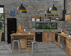 Kitchen cabinets and appliances set in 3D model 2