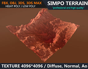 Low poly Realistic Mars Terrain 01 - Game Ready 3D asset