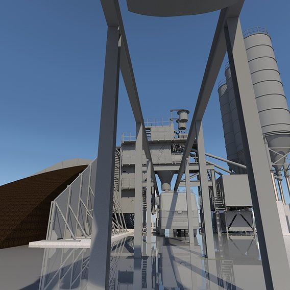 Cement plant with silo, batching plant