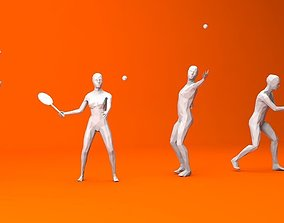 3D asset 4 Tennis Player Lowpoly People