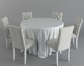 Table and Chairs Brookline Tufted 3D