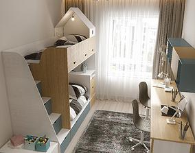 3D model cute Kids room