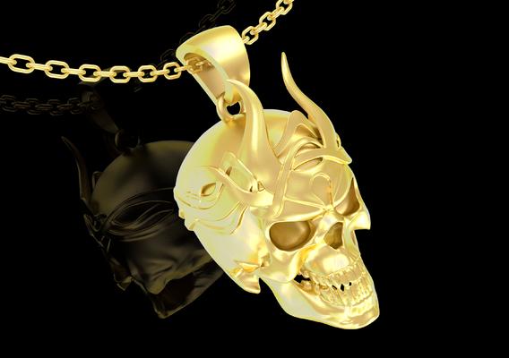 Crowned Skull Pendant jewelry Gold 3D print model